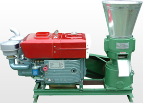 Wood pellet machine with diesel engine
